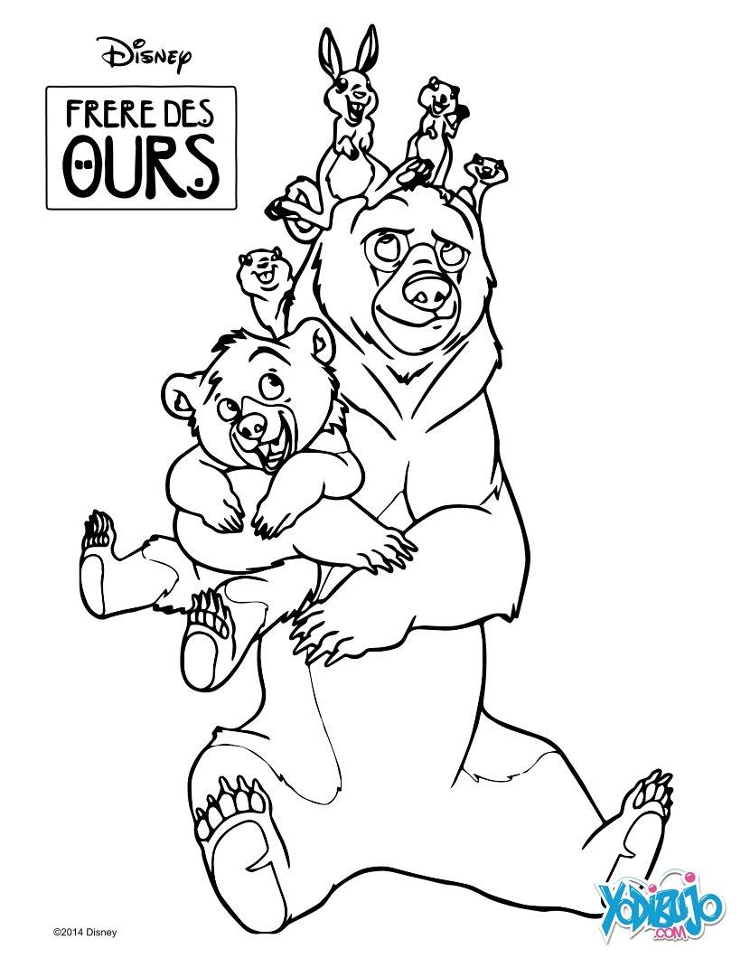 Dibujos para colorear los animales en hermano oso - es.hellokids.com