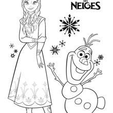 Dibujo para colorear : Ana y Olaf - La Reina de las Nieves