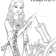 Dibujo para colorear : Aurora con el huso de la rueca