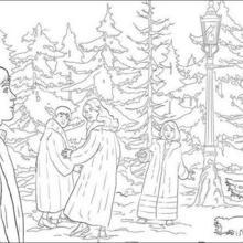 Dibujo para colorear : Escena de el león, la Bruja y el Armario
