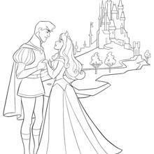 Dibujo para colorear : La Bella Durmiente y su Príncipe