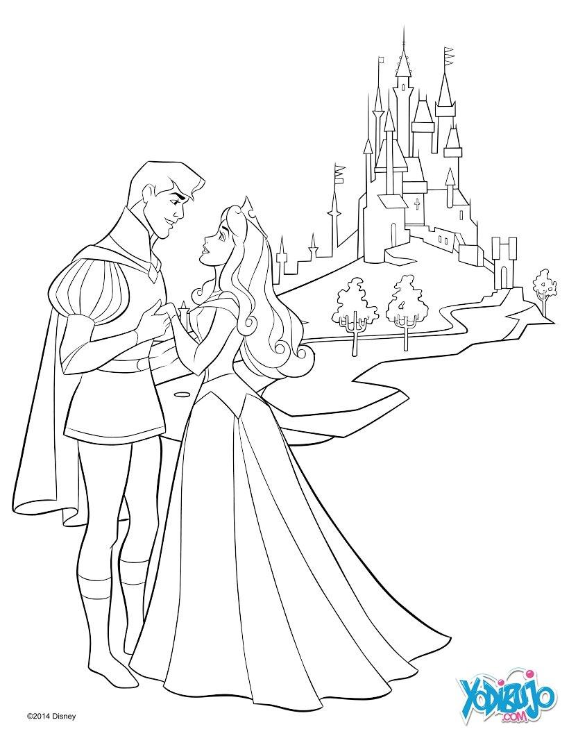 Dibujos para colorear la bella durmiente y su príncipe - es ...