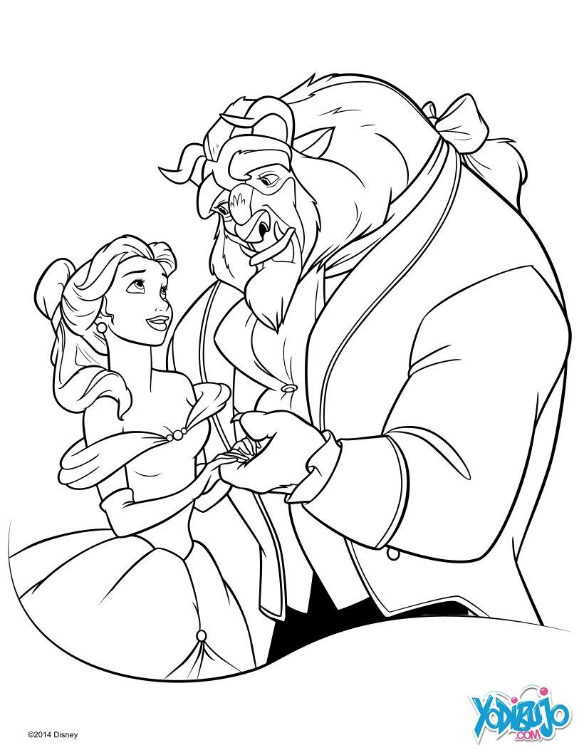 Dibujos para colorear la bella y la bestia gratis - es.hellokids.com