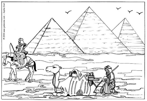 Dibujos para colorear piramide en egipto - es.hellokids.com