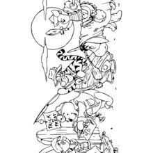 Dibujo para colorear : Winnie Pooh y sus amigos para Halloween