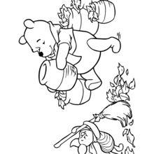 Dibujo para colorear : Winnie y puerquito (Piglet)