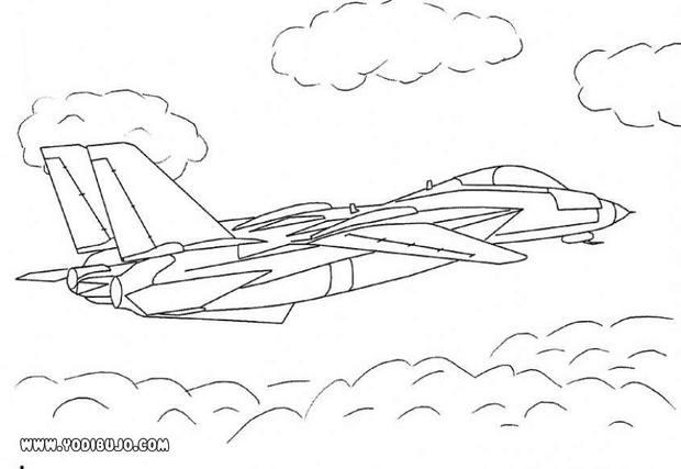 Dibujos para colorear avión de caza - es.hellokids.com