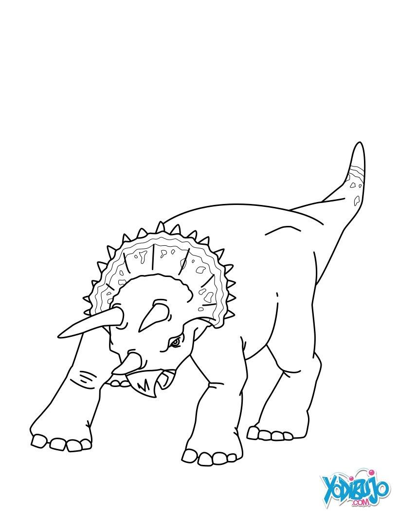 Dibujos para colorear dinosaurio con 3 cuernos - es.hellokids.com