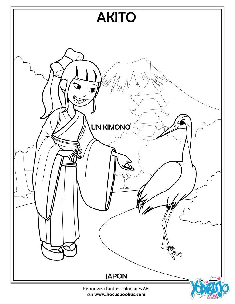 Dibujos para colorear akito la japonesa  eshellokidscom