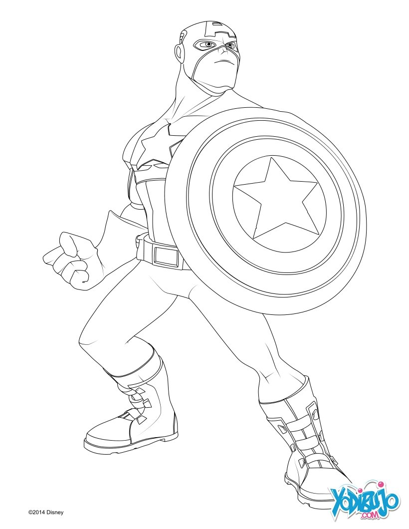 Dibujos para colorear capitán américa - es.hellokids.com