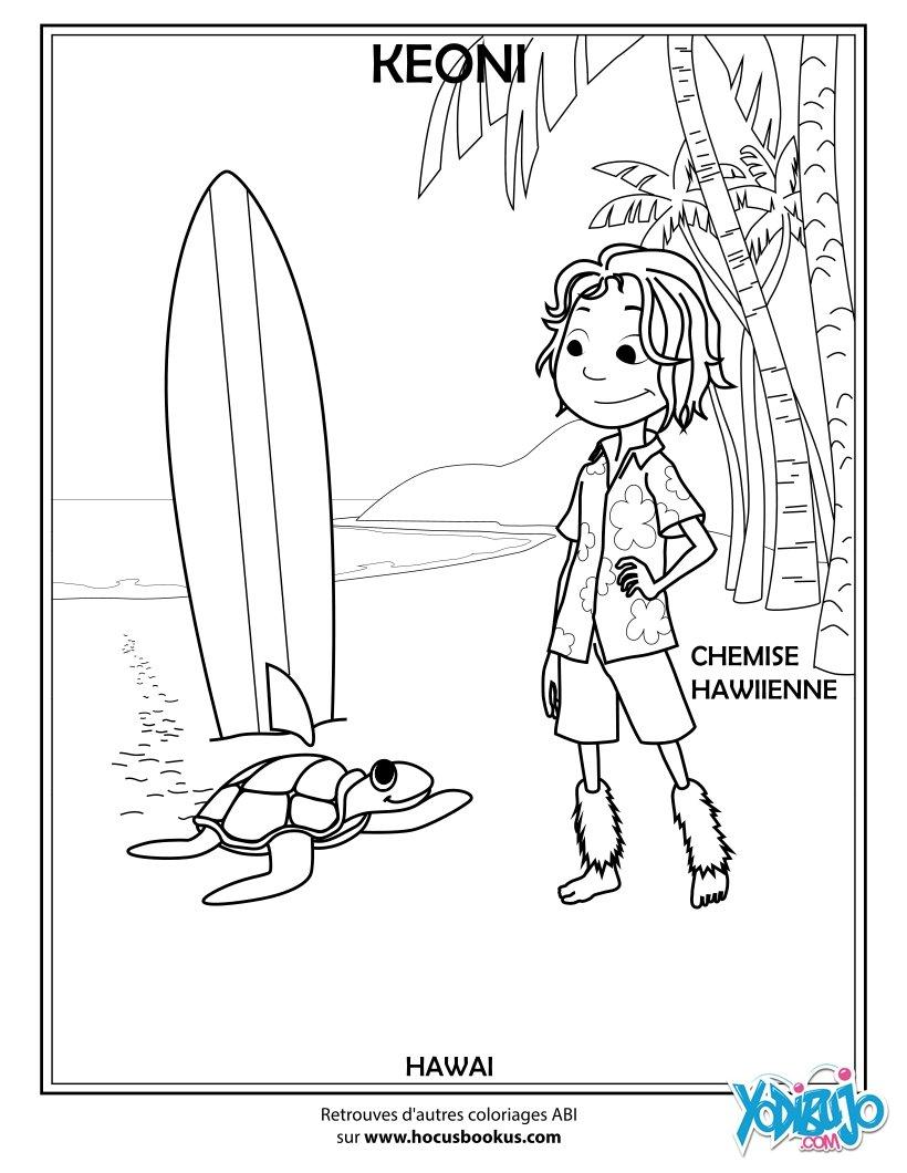 Dibujos para colorear keoni el chico de hawai - es.hellokids.com