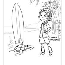 Dibujo para colorear : Keoni el chico de Hawai