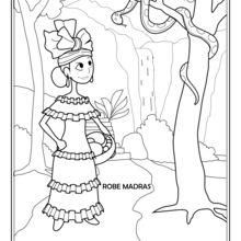 Dibujo para colorear : Niña de Martínica