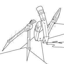 Dibujo para colorear : Compás, bolígrafo y lápiz