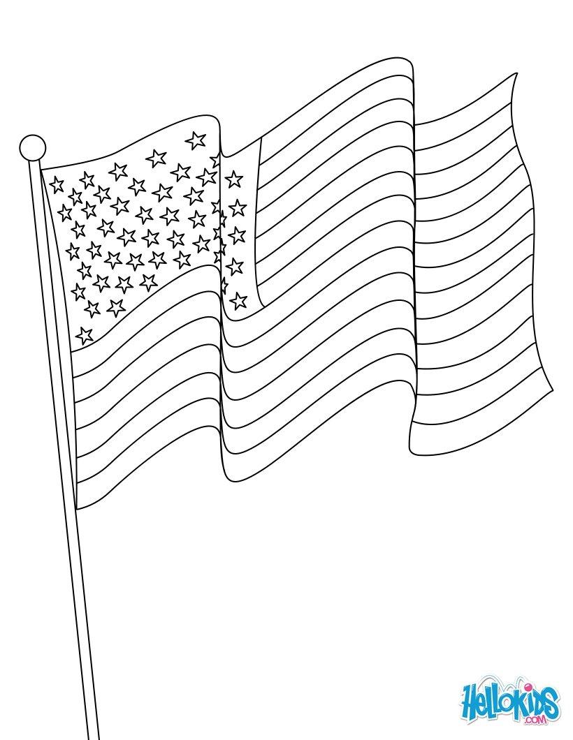 Dibujos para colorear bandera americana - es.hellokids.com