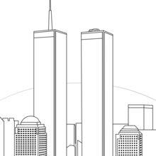 Dibujo para colorear : Las Torres Gemelas en Nueva York