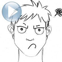 Truco para dibujar en vídeo : Dibuja una expresión facial: una cara de mal humor.