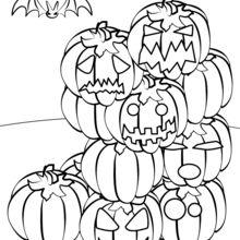 Dibujo para colorear : Montaña de calabazas