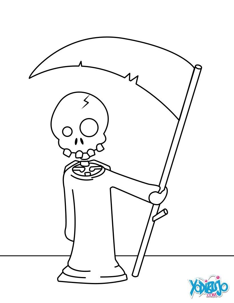 Dibujos para colorear DIA DE MUERTOS Dibujo para colorear  La Muerte con su guadaña