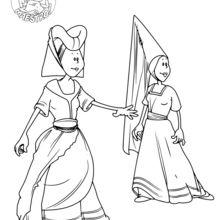 Dibujo para colorear : Mujeres en la Edad Media