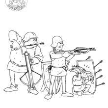 Dibujo para colorear : Pedro y Gordo en la Edad Media