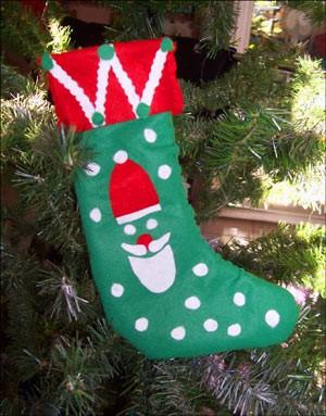 Manualidad infantil : Calcetín para regalos de Navidad