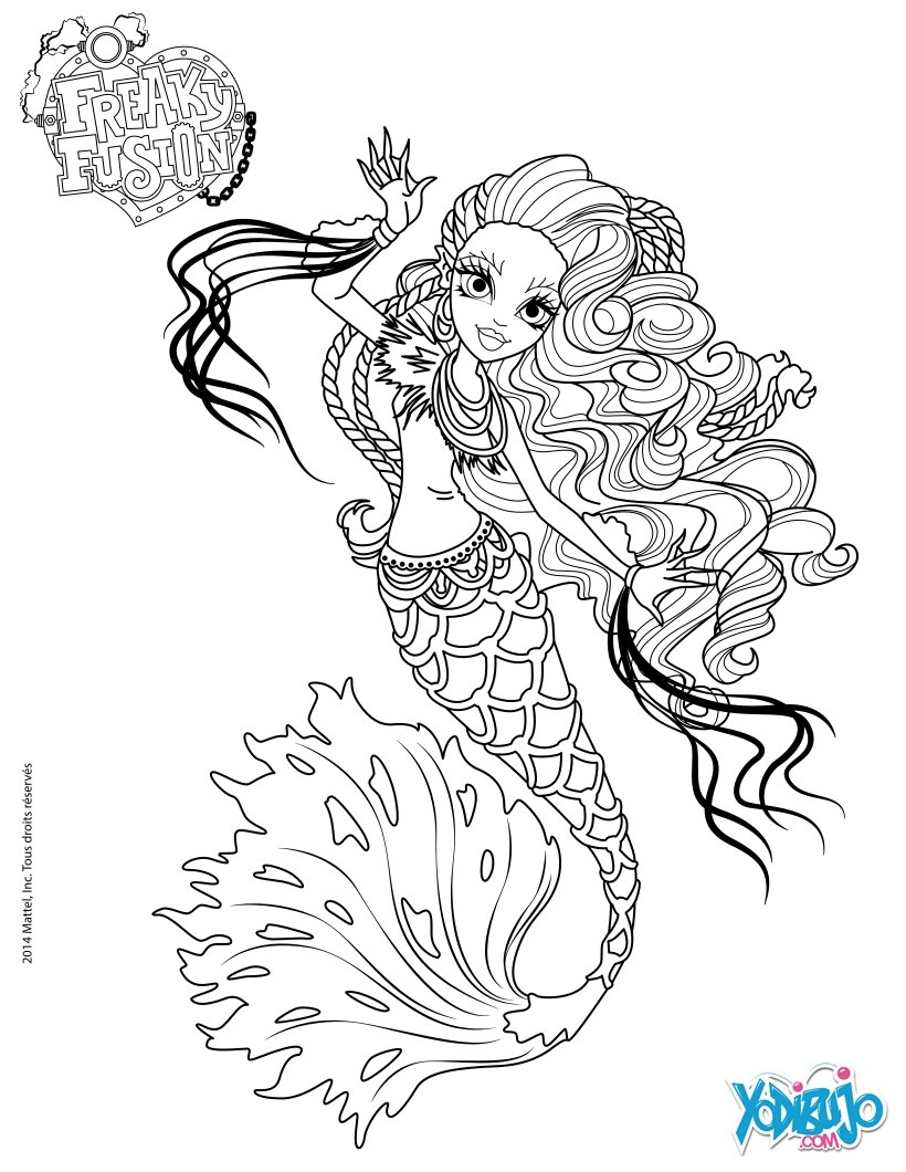 Dibujos para colorear monster high freaky fusion sirena von boo