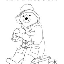 Dibujo para colorear : Paddington se come un bocadillo