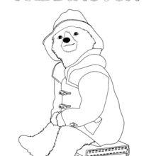 Dibujo para colorear : Paddington sentado en su maleta