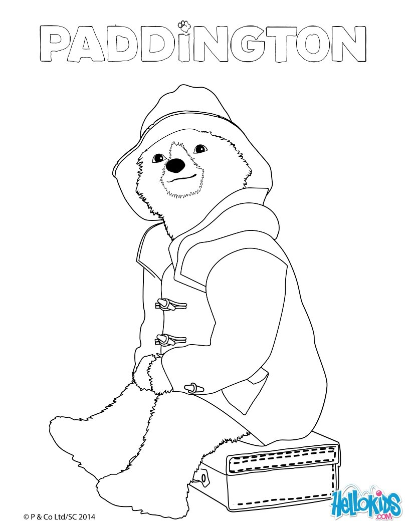 Dibujos para colorear paddington sentado en su maleta - es.hellokids.com
