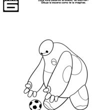 Dibujo para colorear : Baymax Soccer