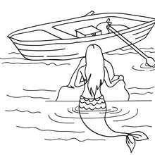 Dibujo para colorear : una sirena observando un barco