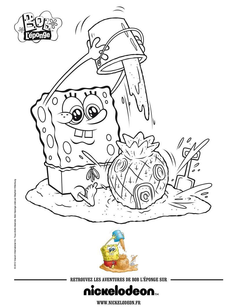 Dibujos para colorear bob esponja a la playa - es.hellokids.com