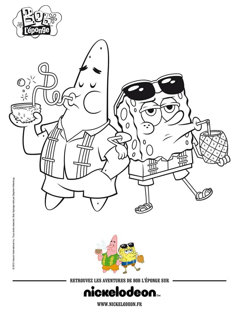 Dibujos para colorear pintar a bob esponja y patricio a la playa ...