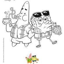 Dibujo para colorear : Pintar a BOB ESPONJA Y PATRICIO a la playa