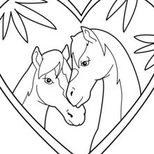 Dibujo para colorear : Pareja de caballos