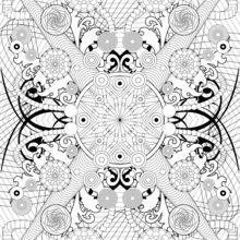 Dibujo para colorear : Rosetas y patrones tribales