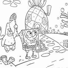 Dibujo para colorear : Bob Esponja con su binoculares