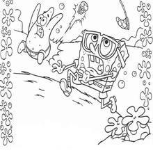 Dibujo para colorear : Bob Esponja huye a toda velocidad