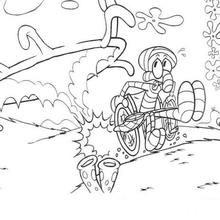 Dibujo para colorear : Calamardo en una silla de ruedas