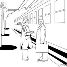 Dibujo para colorear : anden de la estación de tren