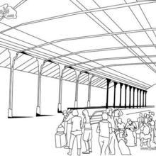 Dibujo para colorear : la estación de tren