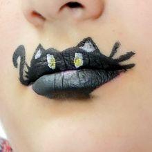 Arte manual : Pintura de labios, Gato negro