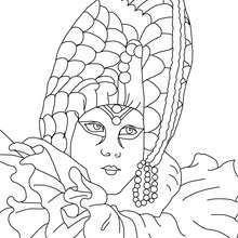 Dibujo para colorear : Careta blanca con ropaje de seda