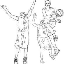 Dibujo para colorear : un jugador de baloncesto en acción