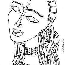 Dibujo para colorear : una máscara de una mujer egipcia