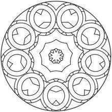 Dibujo para colorear : Rosetón con círculos