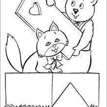 Dibujo para colorear : Osito y gato