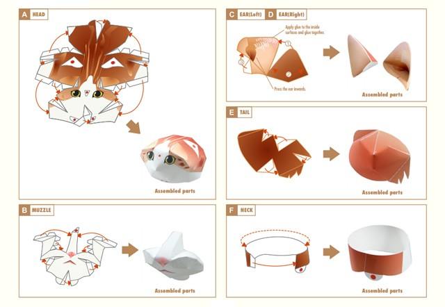 Doblado de papel : Gato BOBTAIL JAPONÉS 3D