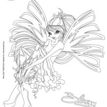 Dibujo para colorear : Bloom, transformación en Sirenix